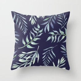 Floating Leaves Blue 2 #society6 #buyart Throw Pillow