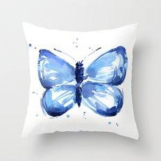 Butterfly Watercolor Blue Butterflies Throw Pillow
