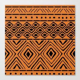 African Mud Cloth // Orange Canvas Print