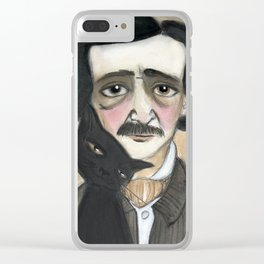 Edgar Allan Poe and the Black Cat Clear iPhone Case