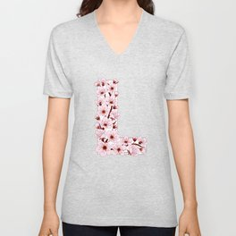 Colorful capital letter L patterned with sakura twig Unisex V-Neck