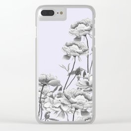 black and white peony i purple background Clear iPhone Case