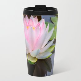 Pink Lotus & Green Lily Pads On A Jet Black Pond Travel Mug