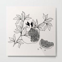 Pomegranate (BW) Metal Print