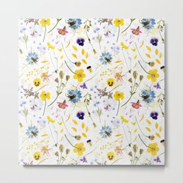 Dried And Pressed Wildflowers Midsummer Meadow I Metal Print