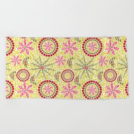Birds and Flowers Mosaic - Yellow, green and pink Beach Towel