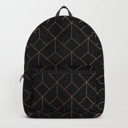 Gold Art deco pattern on Black ink Backpack