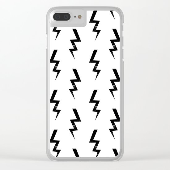 Bolts lightning bolt pattern black and white minimal cute patterned gifts Clear iPhone Case
