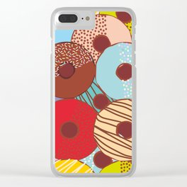 Sweet donuts set with icing and sprinkls isolated, pastel colors on chocolate Clear iPhone Case