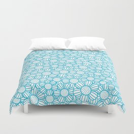 Field of daisies - teal Duvet Cover