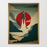 wall clock Canvas Prints featuring The Voyage by Danny Haas