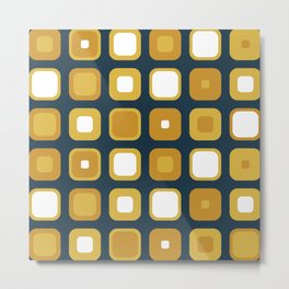 Rounded Squares Seventies Geometric Pattern in Mustard Yellows and White on Navy Blue Metal Print