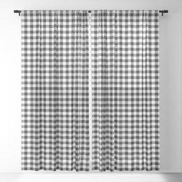 Mini Milkweed White and Black Rustic Cowboy Cabin Buffalo Check Sheer Curtain