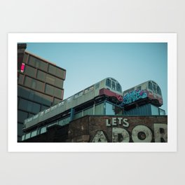 Trains in the city Art Print