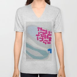 """launched"" abstract painting in fresh colors gray, white pink and mint by Unisex V-Neck"