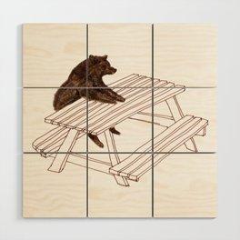 Picnic Bear Wood Wall Art