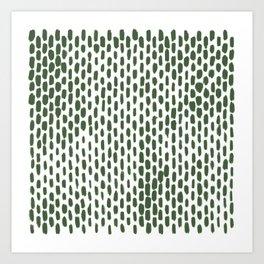 Minimalist Staggered Brush Strokes Green Art Print