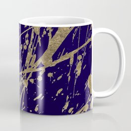 Elegant faux gold modern navy blue paint splatters Coffee Mug