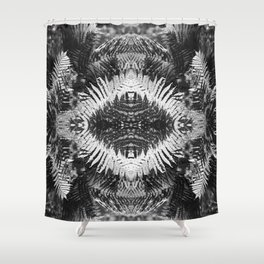 Ostrich Fern in Black and White Shower Curtain