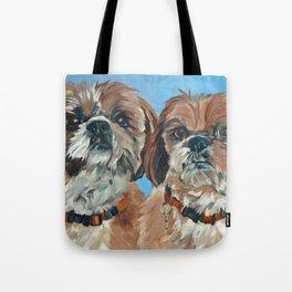 Shih Tzu Buddies Dog Portrait Tote Bag