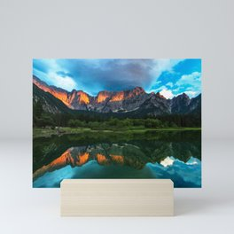 Burning sunset over the mountains at lake Fusine, Italy Mini Art Print