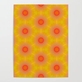 Geometrical Bright Orange and Yellow Pattern Poster