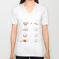 youtube V-neck T-shirts featuring Youtube Cats vs Reality by The Blue Colibri