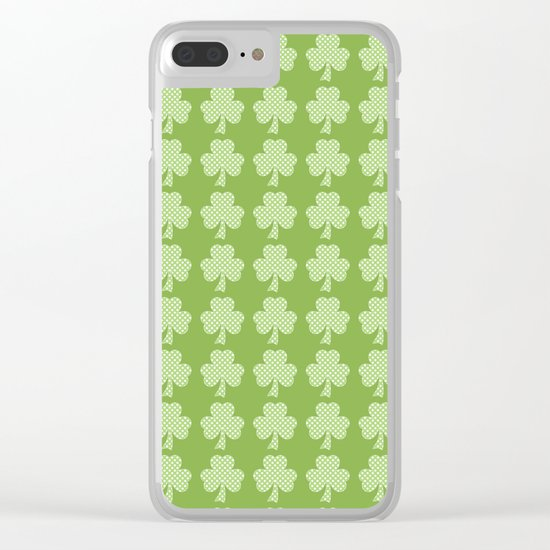 Greenery Shamrock Clover Polka dots St. Patrick's Day Clear iPhone Case