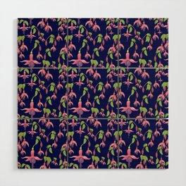 Watercolour Fuchsia Flower Pattern - Navy Wood Wall Art