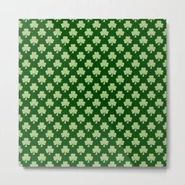 Shamrock Clover Polka dots St. Patrick's Day green pattern Metal Print