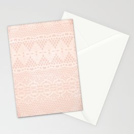 Vintage Distressed Lace Pattern - Blush Pink / Peach / Cream Stationery Cards