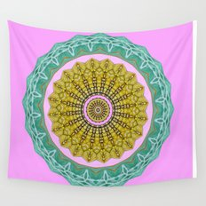 Lovely Healing Mandala  in Brilliant Colors: Pink, Green, Gray, Gold, and Wheat Wall Tapestry