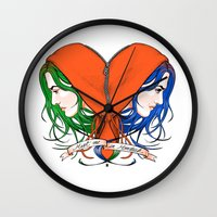 nietzsche Wall Clocks featuring Clementine's Heart by castlepöp