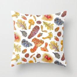 Forest Treasures - White Throw Pillow
