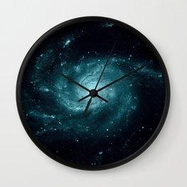 Spiral gALAxy Teal Wall Clock