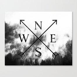Foggy Forest Compass Canvas Print
