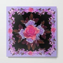 LAVENDER PINK ROSE GARDEN LILAC ROSES FLOWERS Art Metal Print