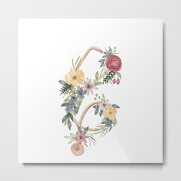 Stethoscope with Florals Metal Print