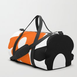 Large Orange and Black Retro Flowers White Background #decor #society6 #buyart Duffle Bag