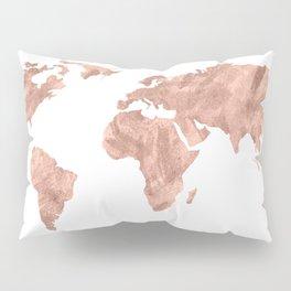 World Map Rose Gold Pink Vintage Pillow Sham