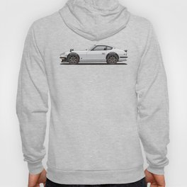 Legendary Classic White 240z Fairlady Vintage Retro Cool German Car Wall Art and T-Shirts Hoody