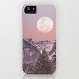 Pastel Full Moon Over Yosemite Park iPhone Case