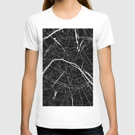Paris France Minimal Street Map - Black on White T-shirt