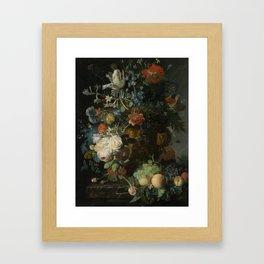 Jan van Huysum - Still life with flowers and fruits (1721) Framed Art Print