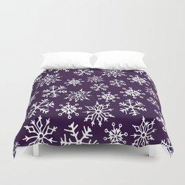 Snowflakes Pattern (Dark Purple) Duvet Cover