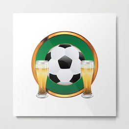 Two beer glasses and soccer ball in green circle Metal Print