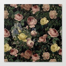 Vintage Roses and Iris Pattern - Dark Dreams Canvas Print