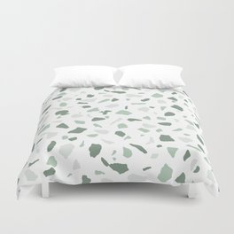 abstract terrazzo stone pattern sage green white Duvet Cover