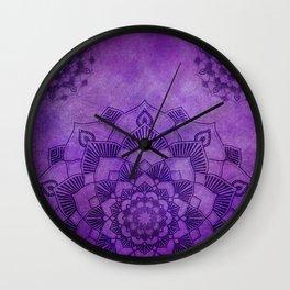 Deep Purple Lotus Mandala Wall Clock