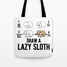 Draw a lazy Sloth fun animal step by step painting Tote Bag